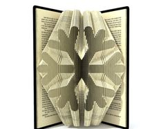 Book folding pattern - SNOWFLAKE - 2 different sizes included 239 and 263 folds + Tutorial with Simple pattern - Heart - ST0101