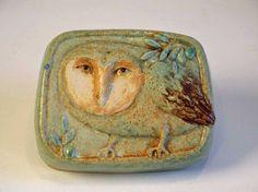 Green owl tile. Stoneware clay. Original design by Margaret Wozniak.