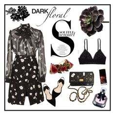 """""""Dark Floral"""" by hellodollface ❤ liked on Polyvore featuring Carven, Paul Andrew, Yves Saint Laurent, Aerie, Chanel and darkflorals"""