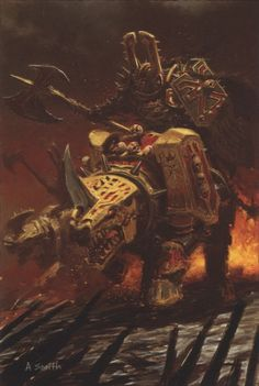 """chaos-is-our-master:""""Make war upon the Imperium of Man? What is it you think the Legions have been doing for the last ten thousand years? War does not end with a single victory or a single planet. It is an eternal creature that outlives men and their tiny triumphs.""""-Arzyn the Silencebringer, warrior of the World Eaters(art by: Adrian Smith)"""