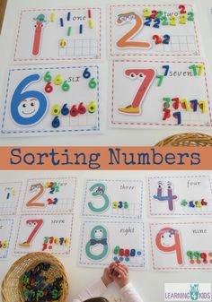 Sorting Numbers using printable numbers cards with tens frames. These number characters are too cute! Numbers Preschool, Preschool Science, Preschool Kindergarten, Teaching Math, Numeracy Activities, Toddler Learning Activities, Fun Learning, Number Activities, Math Patterns