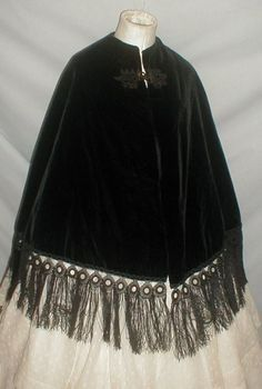 1860's Black Velvet Mantle Cape