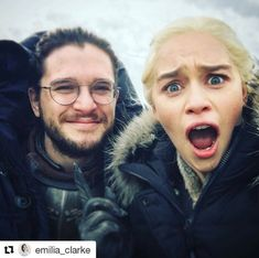 Emilia Clarke & Kit Harington - Daenerys Targaryen, Jon Snow - Game of Thrones Kit Harington, Game Of Thrones Cast, Game Of Thrones Funny, Game Of Thrones Pictures, Game Of Thrones Characters, Winter Is Here, Winter Is Coming, Cersei Lannister, Daenerys Targaryen