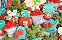 Decorated Cherry Cookies for Go Bo Bake Sale Fruit Cookies, Cherry Cookies, Iced Sugar Cookies, Jam Cookies, Galletas Cookies, Fancy Cookies, Cut Out Cookies, Cute Cookies, Cupcake Cookies