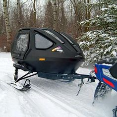 May just keep my sled at home and sit back in this sweet ride!  hahaha  Snowmobile passenger sleigh