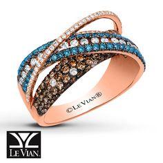 LeVian Chocolate Diamonds 1 1/2 ct tw Ring 14K Strawberry Gold