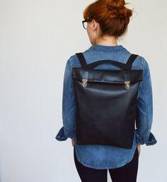 15 cuir sac à dos / sac à dos de cuir / Messenger / ordinateur portable / MacBook /Tote / pour elle / pour lui / unisexe / Black / sacoche / minimaliste