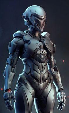 Cyberpunk Girl, Arte Cyberpunk, Robot Concept Art, Armor Concept, Armadura Sci Fi, Arte Sci Fi, Futuristic Armour, Female Armor, Sci Fi Armor