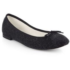 Repetto Sparkle-Coated Suede Ballet Flats ($152) ❤ liked on Polyvore featuring shoes, flats, ballet flats, apparel & accessories, black, suede ballet flats, bow ballet flats, black flat shoes and black bow flats