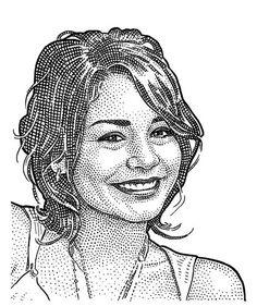 Vanessa Anne Hudgens stipple portrait. Illustrator Ekaterina Shulzhenko. Woodcuts, hedcuts and illustrations.