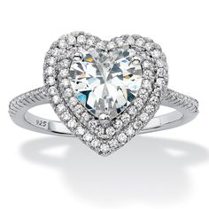 Give her your heart. Sparkling with romance and a beautiful heart-shaped cubic zirconia stone surrounded by a halo of cz-iNUbqTb6