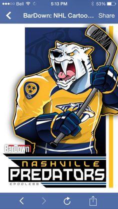 Nashville Predators: A white sabertooth tiger with a hockey stick . Nhl Logos, Hockey Logos, Sports Team Logos, Hockey Party, Hockey Games, Hockey Mom, Predators Hockey, Nhl News, Nhl Players