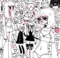 Cute Art Styles, Cartoon Art Styles, Art Drawings Sketches, Cute Drawings, Arte Indie, Emo Art, Grunge Art, Arte Sketchbook, Kawaii Art