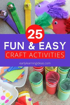 Check out 25 popular craft projects to do with kids. Use this visual library to find lots of fun activities to make with your preschoolers at home. Fun Easy Crafts, Bug Crafts, Easy Craft Projects, Crafts To Do, Crafts For Kids, Craft Ideas, Preschool Activities At Home, Spring Activities, Color Activities