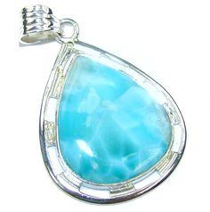 $63.95 Genuine+Blue+Larimar+Sterling+Silver+Pendant at www.SilverRushStyle.com #pendant #handmade #jewelry #silver #larimar