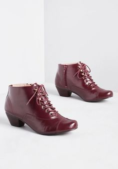 Chelsea Crew Spy Sophisticate Lace-Up Bootie in Burgundy | ModCloth