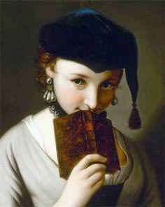 """Pietro Antonio Rotari  - Portrait of a Girl with a Book"""" ca. 1727  Het bleke gezicht en het hoofd achter het boek met de kleine glimlach maakt dit kunstwerk een beetje achterdochtig."""