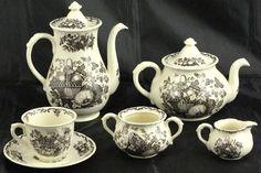 "Mason's - Black ""Fruit Basket"": Coffee Pot, Teapot, Cup & Saucer, Sugar Bowl without Lid and Demitasse Sugar & Creamer"