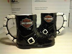 HARLEY DAVIDSON BOOT MUGS W/CHAIN HANDLES~ NEVER USED DISPLAYED ONLY 14OZ.SIZED | eBay