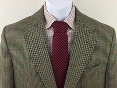 Men's Lauren Ralph Lauren Blazer Houndstooth Brown 40S 100% Wool 2 Button #LaurenRalphLauren #TwoButton