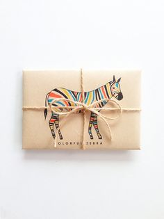 Colorful Zebra Greeting Card Set / etsy