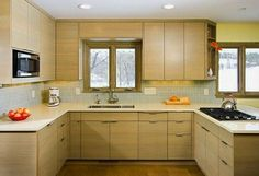7 Clever Cool Tips: Tiny Kitchen Remodel Single Wide colonial kitchen remodel dream homes.Farmhouse Kitchen Remodel Lighting Ideas simple kitchen remodel on a budget. Kitchen Cabinets Without Handles, Simple Kitchen Cabinets, Simple Kitchen Design, Interior Design Kitchen, Kitchen Island, Kitchen Modern, Kitchen Decor, Maple Kitchen, 1970s Kitchen