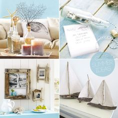 Cottage by the sea decor - love the dogwood frames.