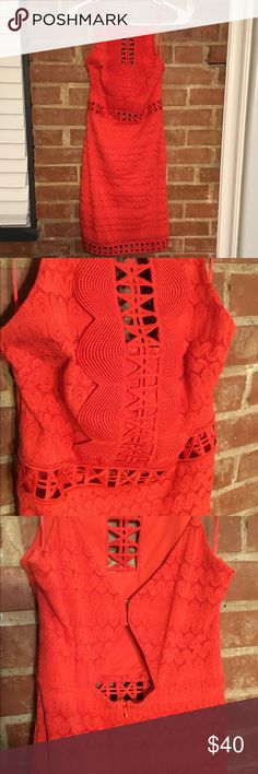 Topshop Dress Welcome back colour to your party wardrobe with this crochet lace dress in bright red, cut with a high neck, it is finished in a mini length. 90% Nylon, 10% Elastane. Machine wash. Colour: RED Product Code: 35L02LRED New without tags Topshop Dresses