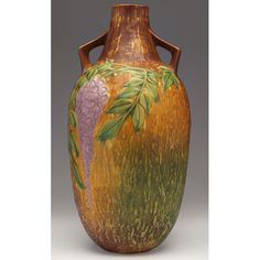 Roseville Pottery, Ceramic Pots, Wisteria, Earthenware, Artist At Work, Pottery Art, American Art, Creative Art, Metal Working