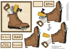 FATHER S DAY MR FIX ITS TOOLS decoupage on Craftsuprint designed by Janet Briggs - Father's Day and other male occasions sheet. Card front and step by step decoupage. Various sentiment tags, including one blank for your own greetings.  - Now available for download!