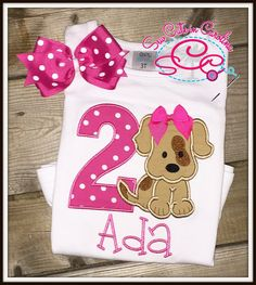 Personalized Puppy Themed Birthday Shirt and Coordinating Hairbow