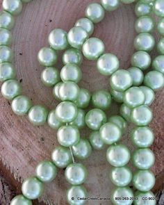 Pale Green  Pearlized 10mm Round Glass Beads   by CedarCreekCanada, $5.29