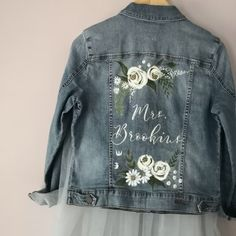 painted wedding jackets bespoke jacket painting bridal denim jackets in 2020 Painted Denim Jacket, Painted Jeans, Painted Clothes, Denim Art, Wedding Jacket, Custom Clothes, Marie, Jean Skirts, Denim Skirts