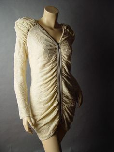 Sale-Romantic-Strong-Shoulder-Juliet-Sleeve-Gathered-Ruched-Top-Blouse-Tunic-S