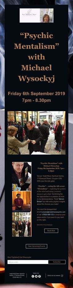 """""""Psychic Mentalism"""" with Michael Wysockyj Derren Brown, 6 September, Upcoming Events, Promotion, Spirituality, Movie Posters, Film Poster, Popcorn Posters, Spiritual"""