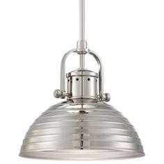1 Light Pendant - 1 Light Pendant in Polished Nickel Finish w/ Metal Shade