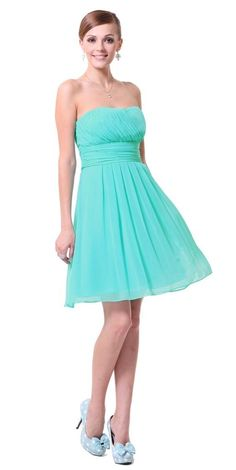 Betsy Aqua Turquoise Chiffon Prom Evening Bridesmaid Dress - www.eloises-secret-closet.co.uk
