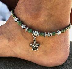 Ankle Bracelet Turtle Anklet Beach Anklet Womans Anklet Beaded Anklet Anklet Beach Jewelry Anklets For Women Ankle Jewelry - Anklet - Ideas of Anklet - Ankle Bracelet Turtle Anklet Beach Anklet Womans Anklet Ankle Jewelry, Ankle Bracelets, Body Jewelry, Beaded Bracelets, Jewelry Logo, Jewellery, Beach Jewelry, Cute Jewelry, Women Jewelry