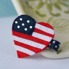 American Flag Felt Hair Clip in Red White and by MyLittlePixies, $3.75
