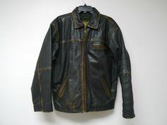 Adler . black lamb skin jacket . distressed . small by june22