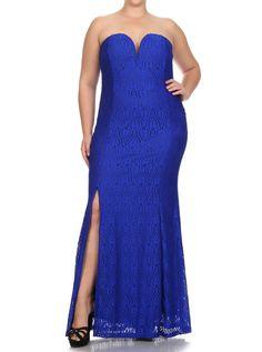 Plus Size Victorian Goddess Crochet Blue Maxi Dress