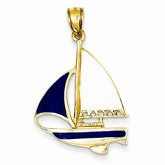 14k Gold 2-D Blue and White Enameled Sailboat Pendant