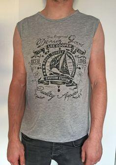 Lee Cooper Logo Retro Vest Mens Gents Muscle Tank Top Crew Neck Tonal Stitching