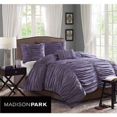 @Overstock - Enjoy the eye-catching style of the Madison Park 'Melrose' plum cotton duvet cover set. This comfortable duvet set makes a great contemporary addition to the bedroom. Featuring a solid plum color, this set includes one duvet, two shams, and one pillow.http://www.overstock.com/Bedding-Bath/Madison-Park-Melrose-Plum-4-piece-Duvet-Cover-Set/6629539/product.html?CID=214117 $71.99