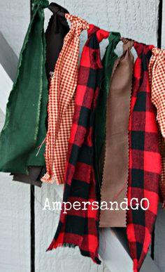 Lumberjack First Birthday Highchair Banner Fabric by AmpersandGO