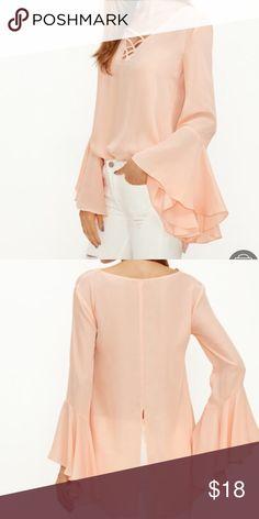 Tops OJ crisscross V neck bell sleeve split back blouse none Tops Crop Tops