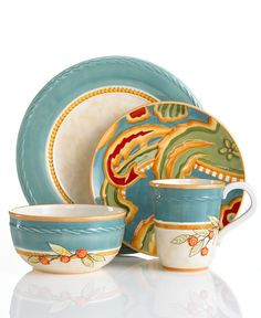 Fitz and Floyd Dinnerware, Carissa Paisley Blue Collection - Casual Dinnerware - Dining & Entertaining - Macy's Bridal and Wedding Registry