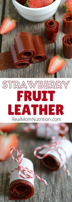 Make your own homemade strawberry fruit roll up! Made with just fresh fruit and a touch of honey. via @https://www.pinterest.com/rmnutrition/