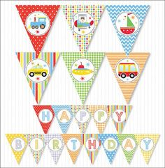 Transportation Happy Birthday Party Banners Bunting Flags