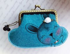 Metal Frame Purse - Hand Drawn Rabbit from Lily's Handmade - Desire 2 Handmade Gifts, Bags, Charms, Pouches, Cases, Purses by DaWanda.com